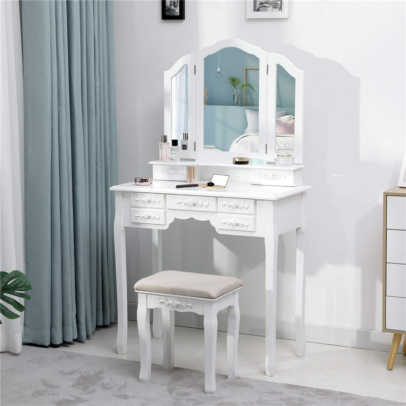 Modern Makeup Vanity Dressing Table w/ Tri-Folding Necklace Hooked Mirror & 7 Drawers for Storage Vanity Desk Cushioned Stool 1