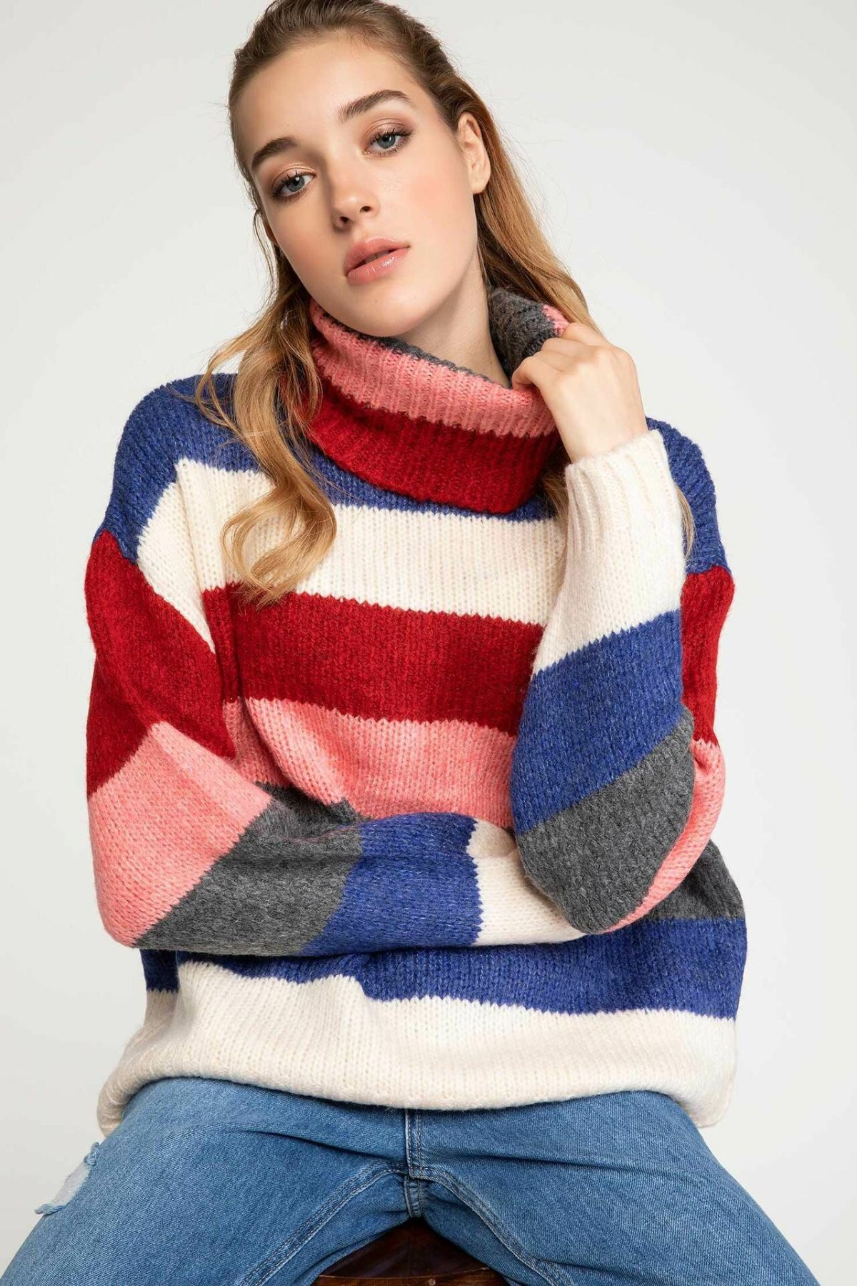 DeFacto Autumn Winter Women Warm Pullover Colorful Stripe Rainbow Tunic Female Tops Knitted Hoodies-I8868AZ18AU