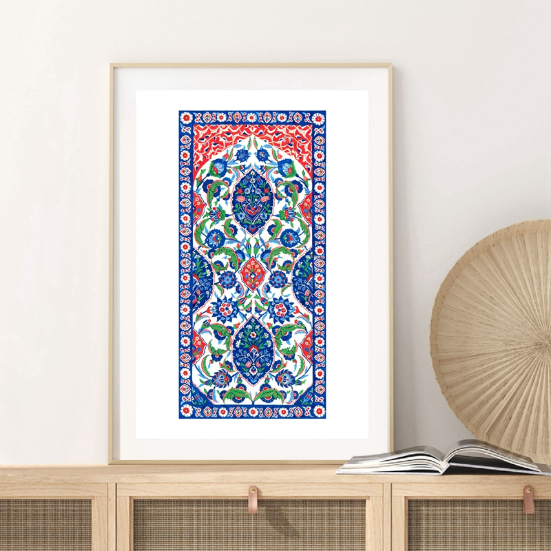 Turkish Ornament Tile Watercolor Art Painting Ottoman Iznik Tile Design Canvas Poster Traditional <font><b>Istanbul</b></font> Floral Prints Decor image