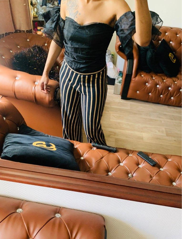 Evenworse Gauze Splicing Bodysuit Woman's Fashion Sexy Off Shoulder Short Sleeve Jumpsuits Slim Solid Jumpsuits Nightclub Club reviews №1 108697