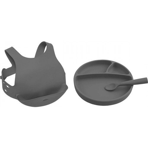 Oioi vaisselle enfant bol cuillère trois pièces ensemble bébé assiette silicone bavoirs bol ensembles bébé alimentation ensemble étanche 6 mois +