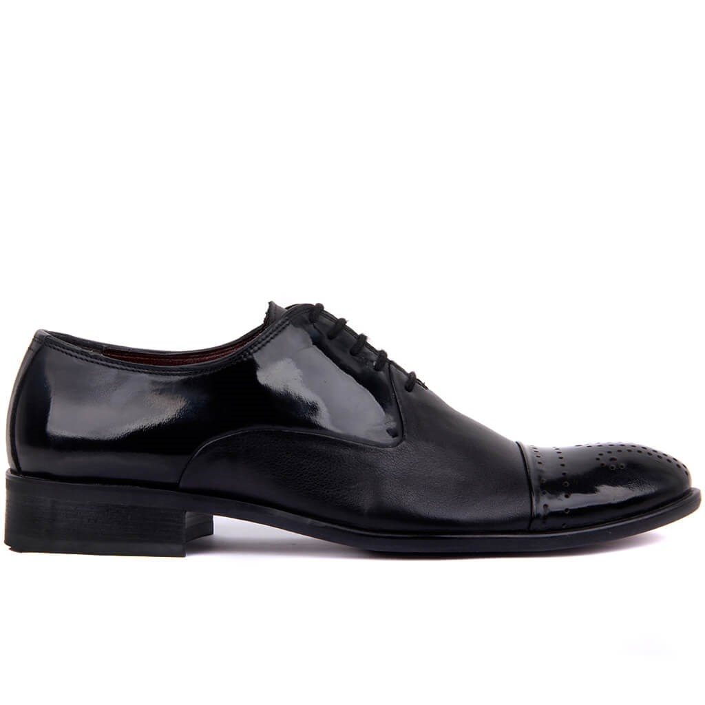 Sail-Lakers Black Leather Sole Leather Outsole Men 'S Classic Shoes