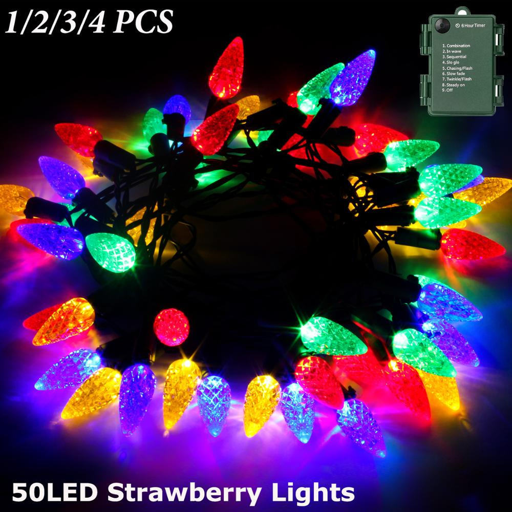 StillCool Battery Operated String Lights,16.4ft 50LED Multicolored Strawberry Lights for Garden Roof Party Holiday Decoration