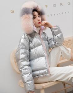 Image 3 - Down jacket woman 2019 fox fur real big fur collar winter coat silver pink bright face short coat woman