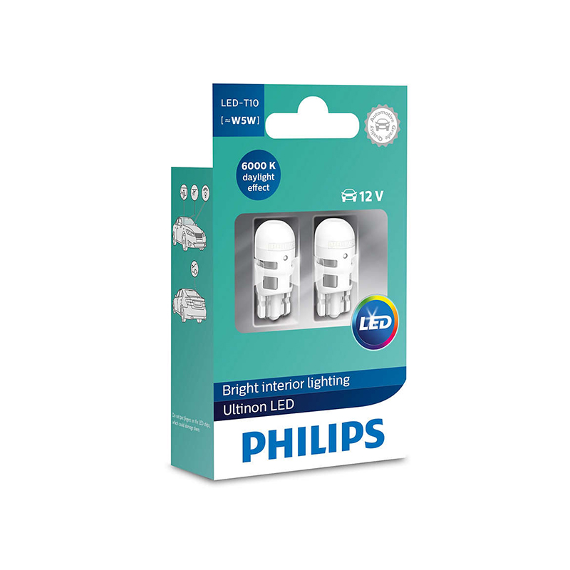 Philips LED W5W T10 11961ULW Ultinon LED 6000K Cool Blue White Light Turn Signal Lamps Interior Light Stylish Driving, Pair