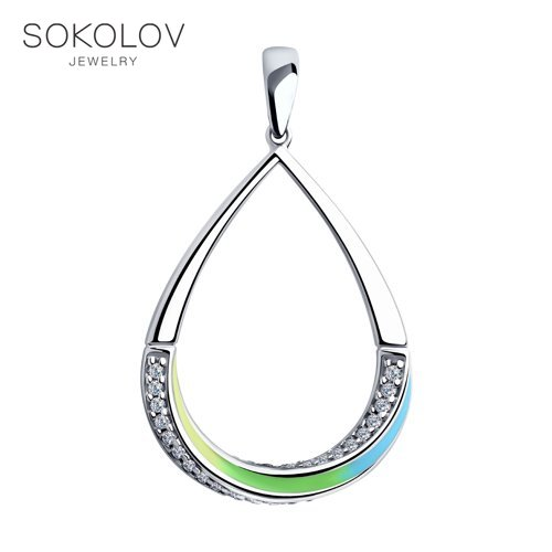 Pendant SOKOLOV Silver With Enamel And Cubic Zirkonia Fashion Jewelry 925 Women's/men's, Male/female
