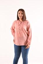 Women's Large Size Button Powder Blouse 4011
