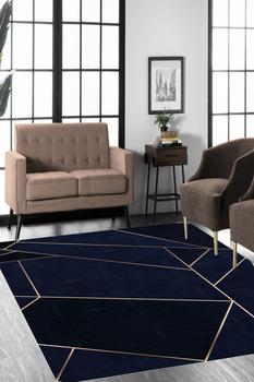 Złoty Prizma Desenli Lacivert Halı (Makinada yıkanabir Kaymaz Deri Taban) #8211 CP178 tanie i dobre opinie Cappio Carpet TR (pochodzenie)
