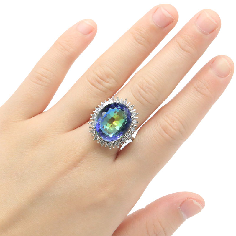 24x20mm 2020 New Arrival 18x15mm Created Fire Rainbow Mystic Topaz CZ Gift For Woman's Silver Rings