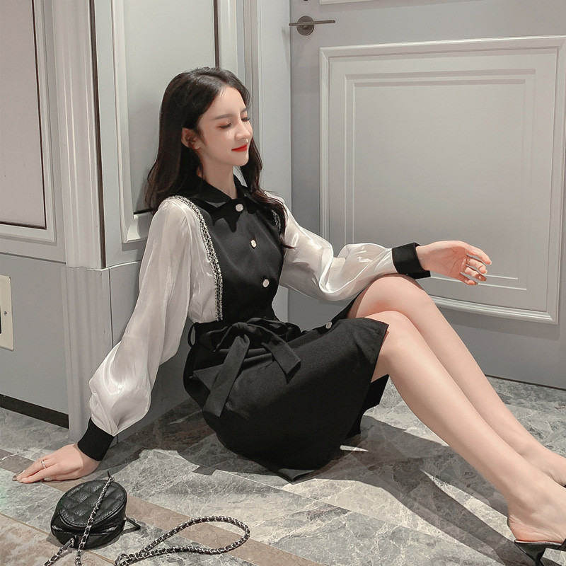 The new spring fashion is thin and fake two-piece bottoming shirt Hepburn style French super fairy women's temperament dress 2