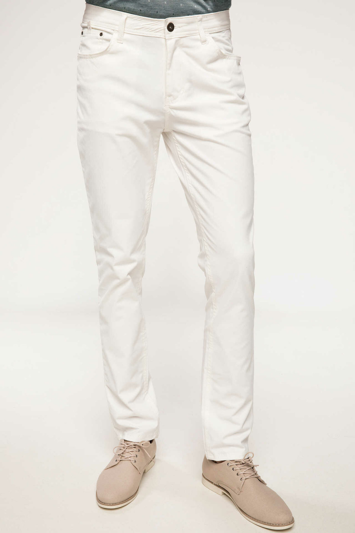 DeFacto New Man Trousers Business Straight Long Pants Mid-waist White Men's Bottoms Pockets Long Pants New-I7725AZ18SM