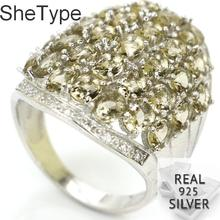 6.6g Real 925 Solid Sterling Silver SheType Smoky Topaz Natural CZ Ladies Ring 25x20mm