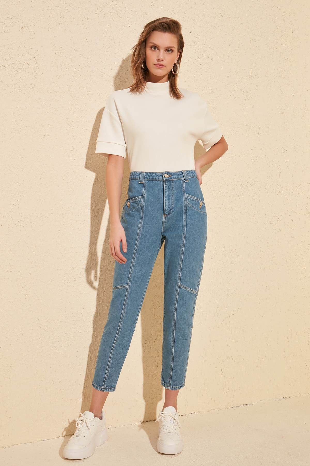Trendyol Stitch Detail High Bel Mom Jeans TWOSS20JE0070