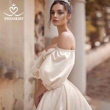 Vintage boncuklu saten düğün elbisesi Swanskirt sevgiliye kabarık kol A Line tren gelin kıyafeti prenses Vestido De Noiva RA01