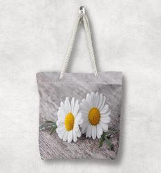 Else серый пол желтый белый Dasiy цветы Новая мода белая веревка ручка Холщовая Сумка Хлопок Холст на молнии сумка через плечо