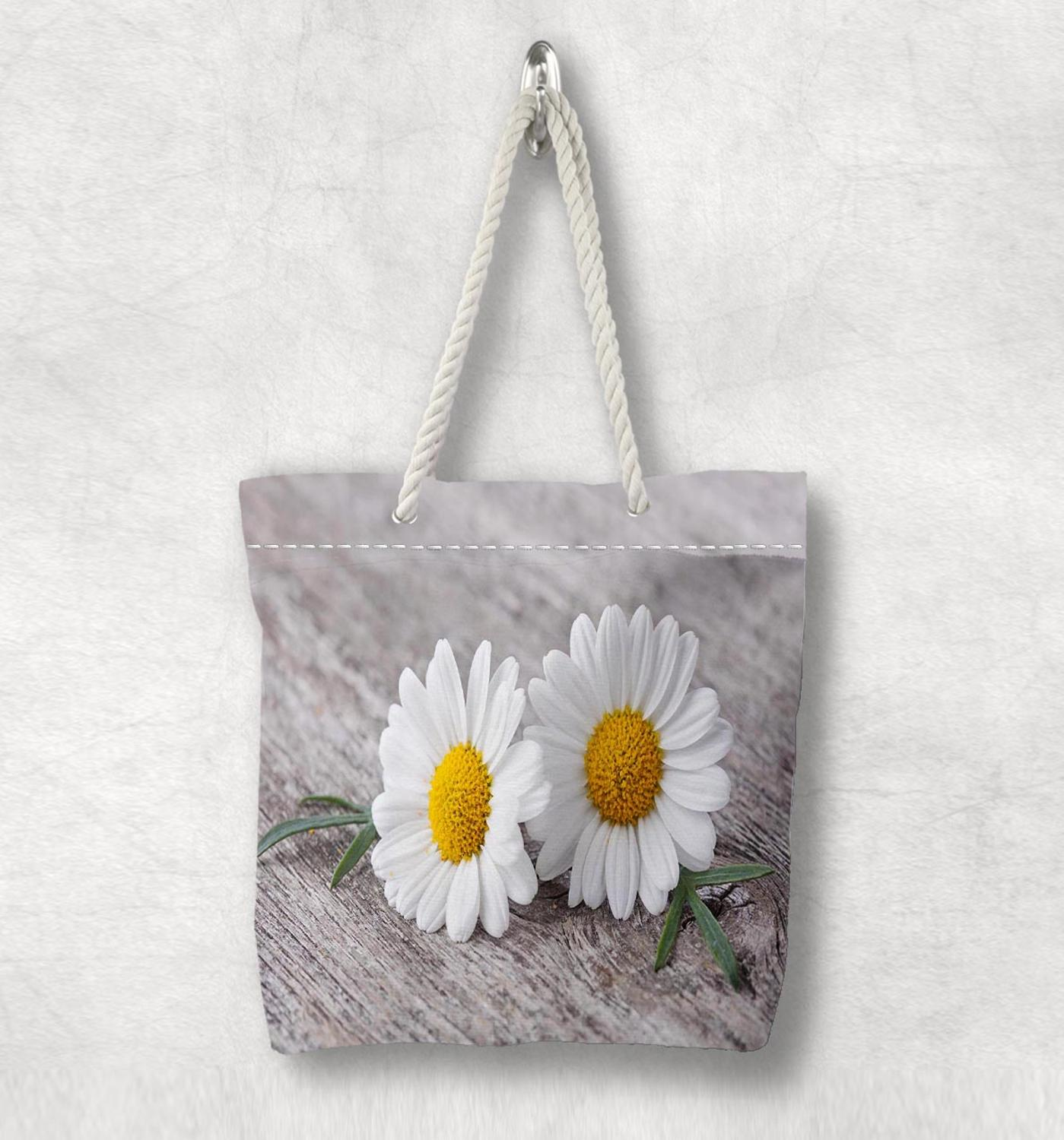 Else Gray Floor Yellow White Dasiy Flowers New Fashion White Rope Handle Canvas Bag Cotton Canvas Zippered Tote Bag Shoulder Bag