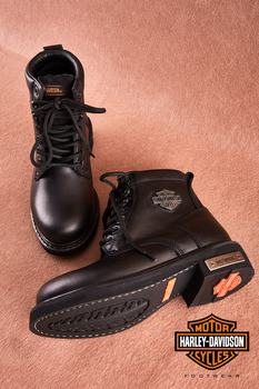 Harley Davidson 100 Cowhide leather Gibson Black Leather Women Boots Autumn Winter High Rubber Sole Female Boats Footwear