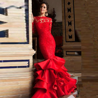 Sexy Backless Red Long Sleeve Prom Dresses Mermaid Lace Prom Gown Ruffles Skirt Party Dresses 2020 robe de soiree