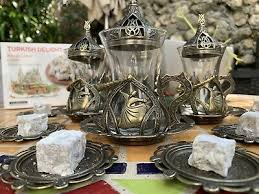 7 -  Anatolian Copper Ottoman Turkish Arabic Tea Cups Tea Coffee Glass Cups Mug 6 Set - 20 pcs Made in Turkey Christmas Gift Box