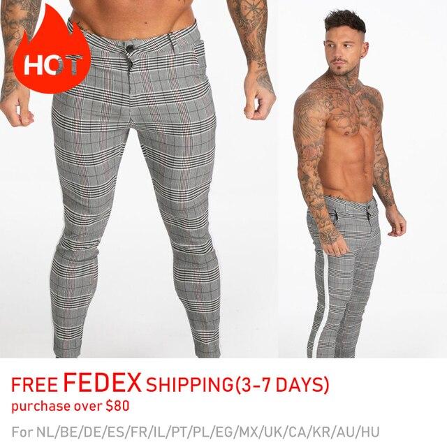 GINGTTO Mens Pants Casual Mens Trousers Skinny Super Stretch Mens Chinos Pants Slim Fit Mens Casual Pant Plaid Elastic Waist 2