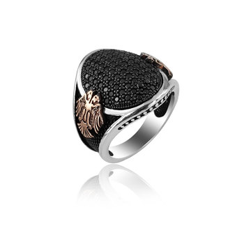 925 Silver Ethnic English Men Ring Eagle Covered
