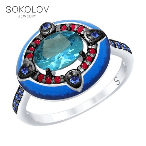 Ring. Sterling Silver With Enamel Blue ситаллом And Red And Blue Cubic Zirconia Fashion Jewelry 925 Women's Male