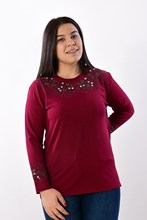 Women's Large Size Fronting Embroidered Burgundy Blouse 2003