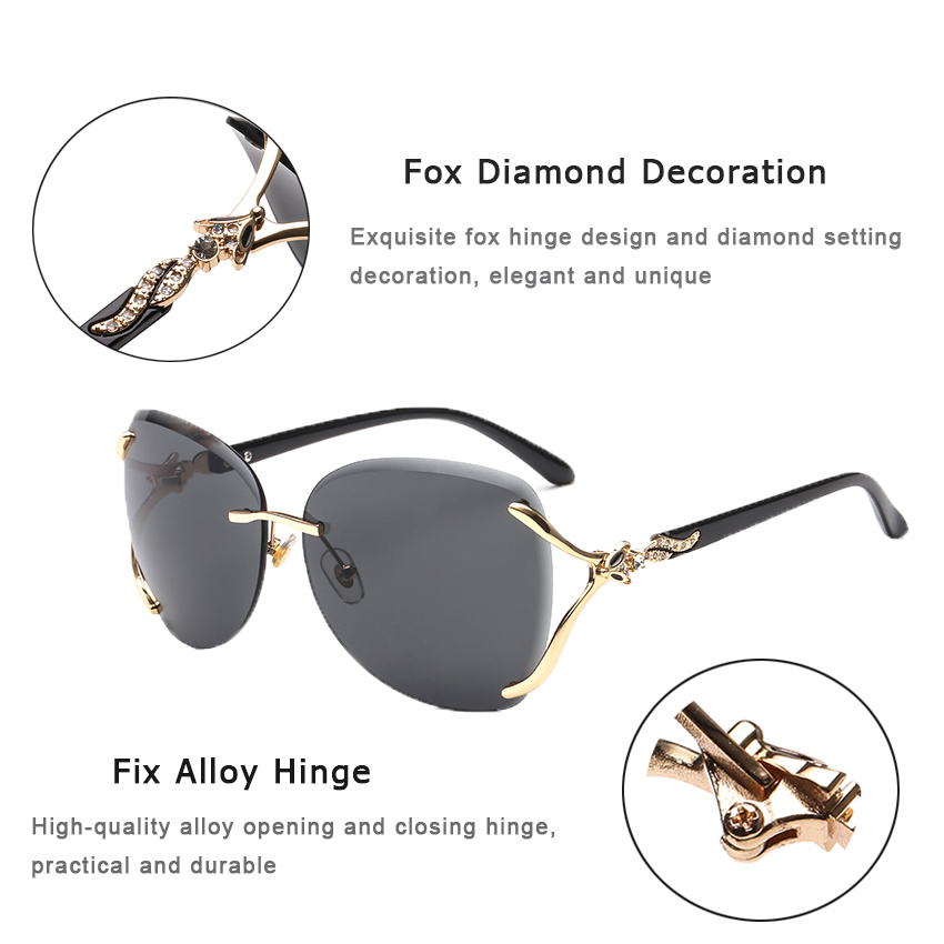 Cusoul Sunglasses Women UV Protection Sunglasses Sunglasses Gradients Glasses Fox Decoration Diamond Female Eyewear Sun Glasses