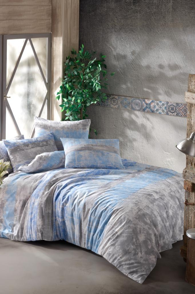 Bedding Set Fitted Sheet With 100% Cotton | Luxury Ranforce Bed Linen Set 4 Pcs Duvet Cover Set From Turkey Retro Blue