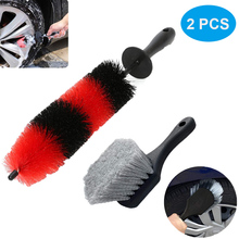 2PCS Car Tire Rim Brush 17inch Long  And No Scratch Wheel Wash Brush With Short Handle For Cars Trucks SUVs Motorcycles Bicycles