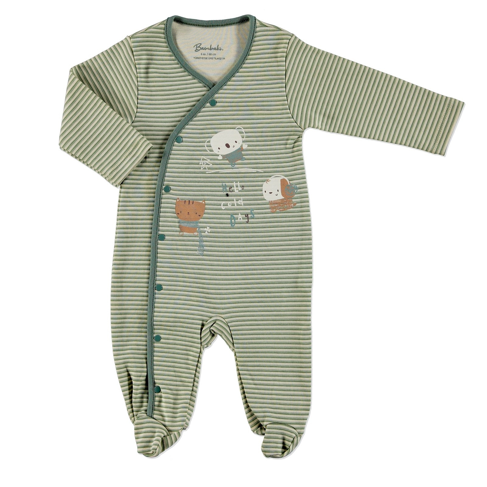 Ebebek Bambaki Cold Days Baby Boy Snaps Footed Romper