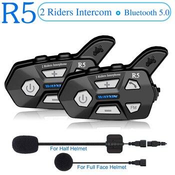 WAYXIN 2pcs Bluetooth Intercom 2 Rider FM Motorcycle Bluetooth Helmet Intercom 1000M MOTO Interphone Helmet Headsets Intercom R5