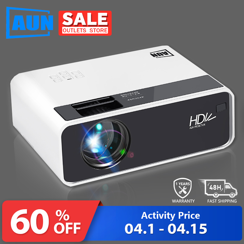 AUN HD Projector D60 | 1280x720 Resolution MINI LED Video 3D Projector for Full HD Home Cinema.HDMI (Optional Android WIFI D60S)