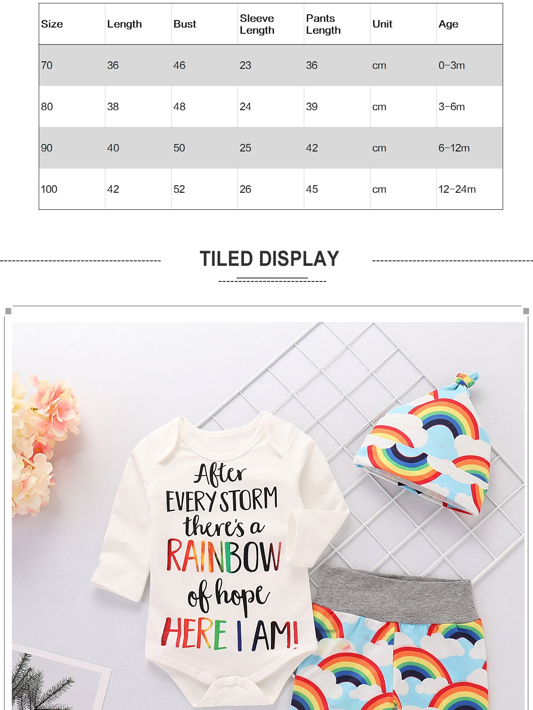 Newborn Baby Girl Romper Rainbow Pants Hat Clothes 3PC Outfits Sets