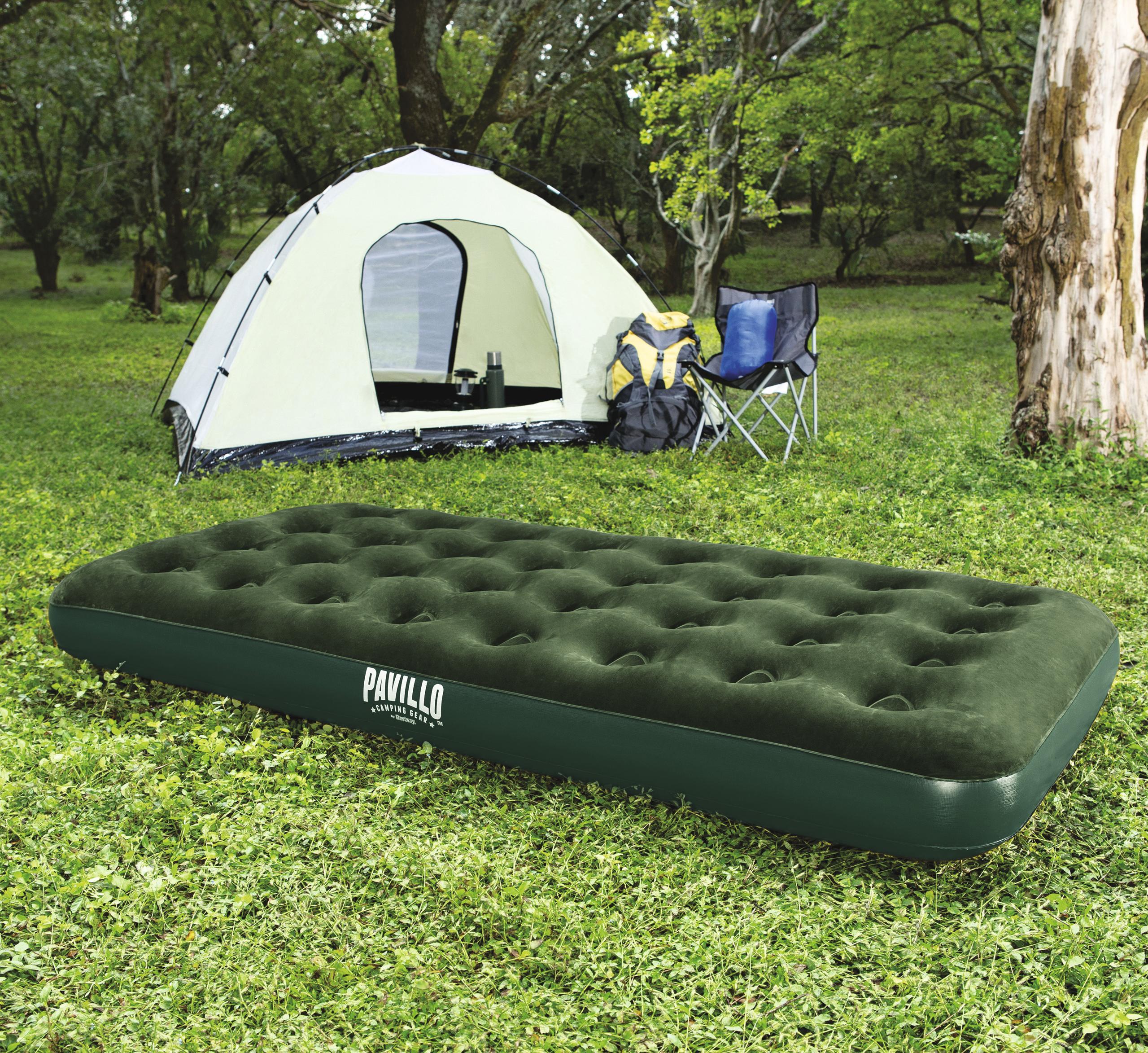 Mattress Inflatable полутораместный флокированный 188 х99х22 Cm, Green, Bestway, Item No. 67447