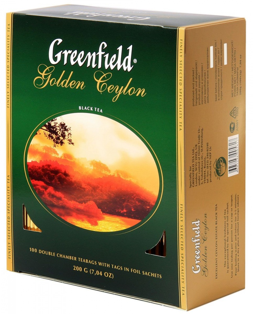 """Чай Greenfield """"Golden Ceylon"""", черный, 100 пакетиков"""