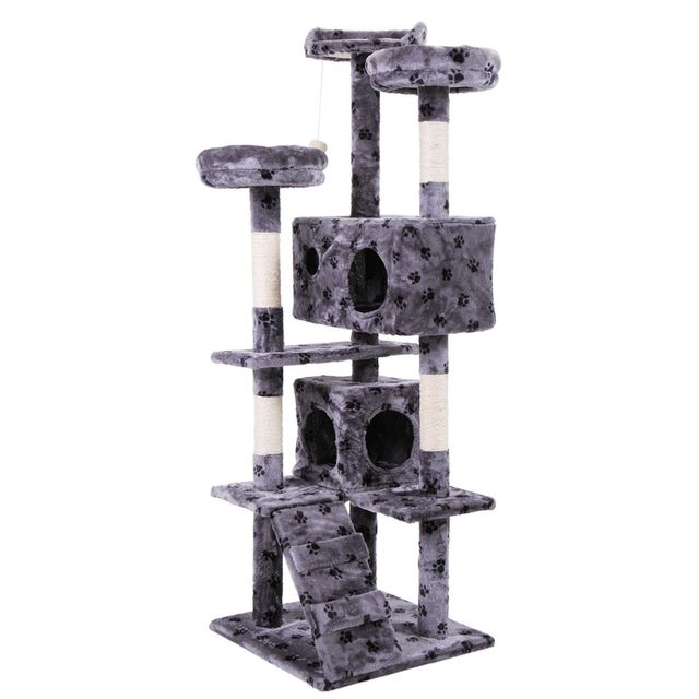Pet Cat Tree Toy Condo Cat Climbing Tower Multi-layer With Hammock Cat House Furniture Scratching Solid Wood Post for Cat 2