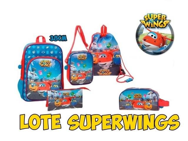 Lot Superwings 1Mochilas, Drawstring Bag, Pencil Pouch Threefold Shoulder Bag & Toiletry Bag
