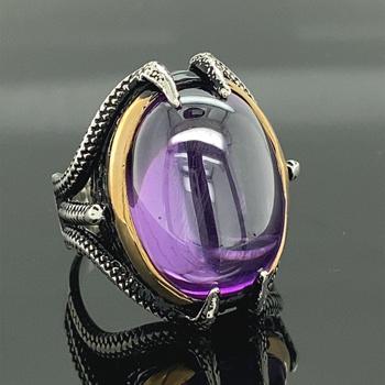 Ametystowy pierścionek męski pierścionek ze srebrnym mocowaniem męski pierścionek ręcznie robiony turecki pierścionek ze srebra ręcznie robiony pierścionek ze srebra próby 925k tanie i dobre opinie Mercan Silver 20 Gr 925 sterling TR (pochodzenie) Mężczyźni CYRKON Drobne Brak Pierścionki Klasyczny