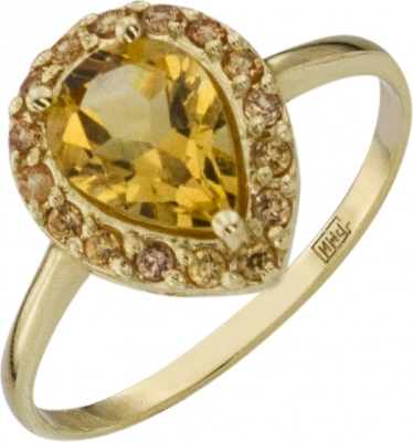 Aloris Ring With Citrine And Sapphires In Yellow Gold