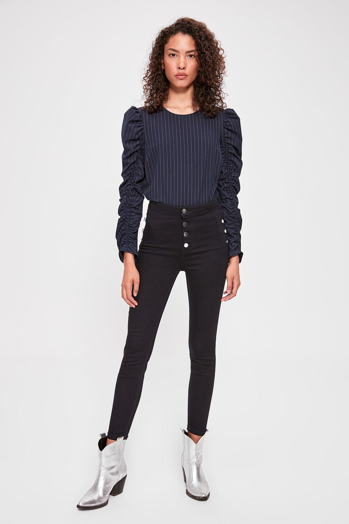 Trendyol Button Detail High Waist Skinny Jeans TWOAW20JE0276