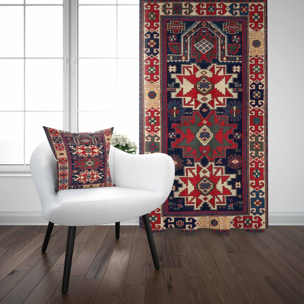Else Blue Red Antique Turkish Ottoman Vintage 3D Print Living Room Bedroom Window Panel Curtain Combine Gift Pillow Case