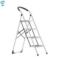 95667 Barneo ST 34 Ladder Staal 4 Stage Wit Enkelzijdig Max Belasting 150Kg Gratis Verzending Naar Rusland-in Opstapjes en trapladders van Meubilair op