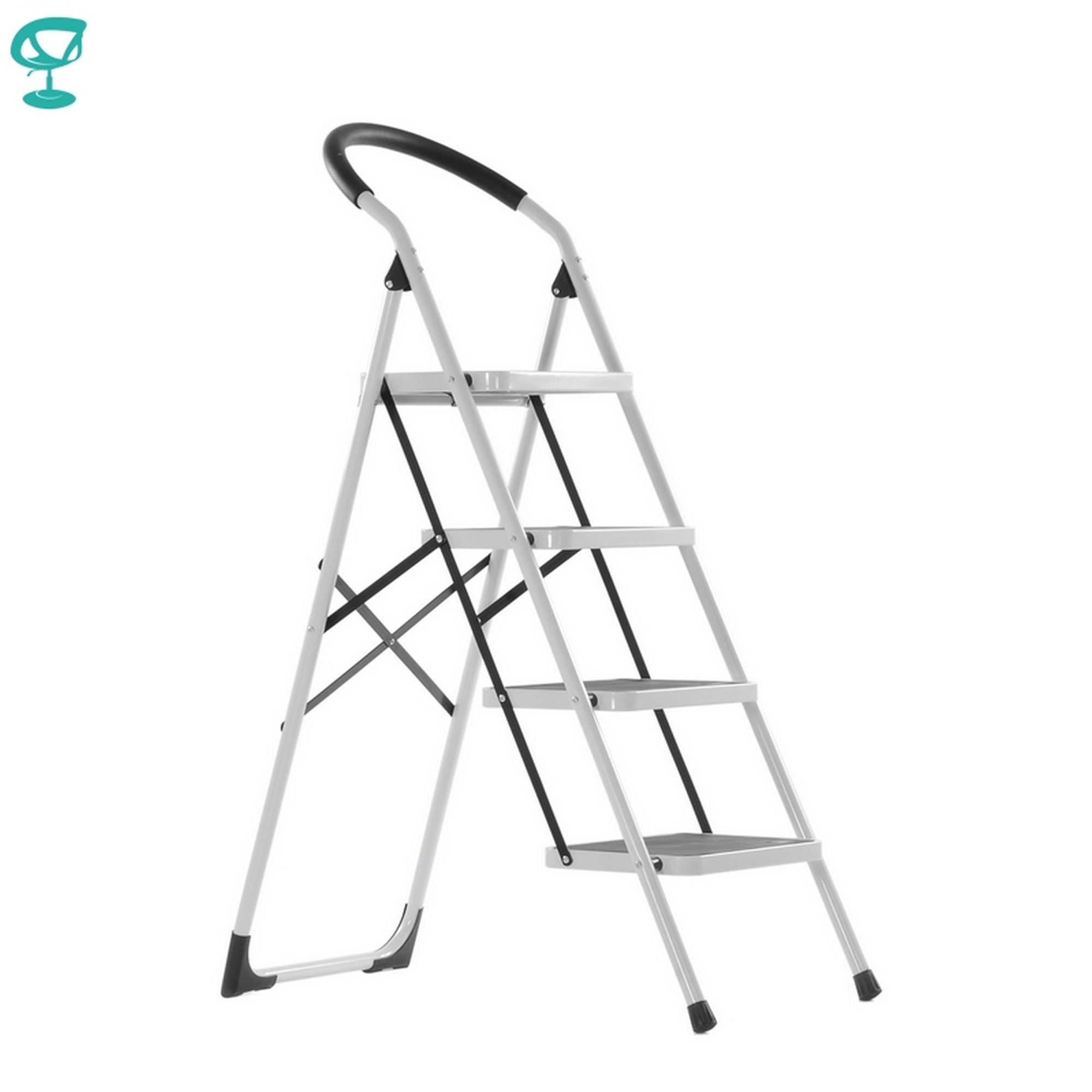 95667 Barneo ST-34 Ladder Steel 4 Stage White Single Side Max Load 150 Kg Free Shipping To Russia