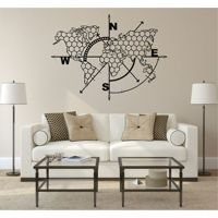 Metal World Map Wall Art Honeycomb Compass, Metal Wall Decor Art Work, Metal Sign, Metal Wall Art, Metal Art