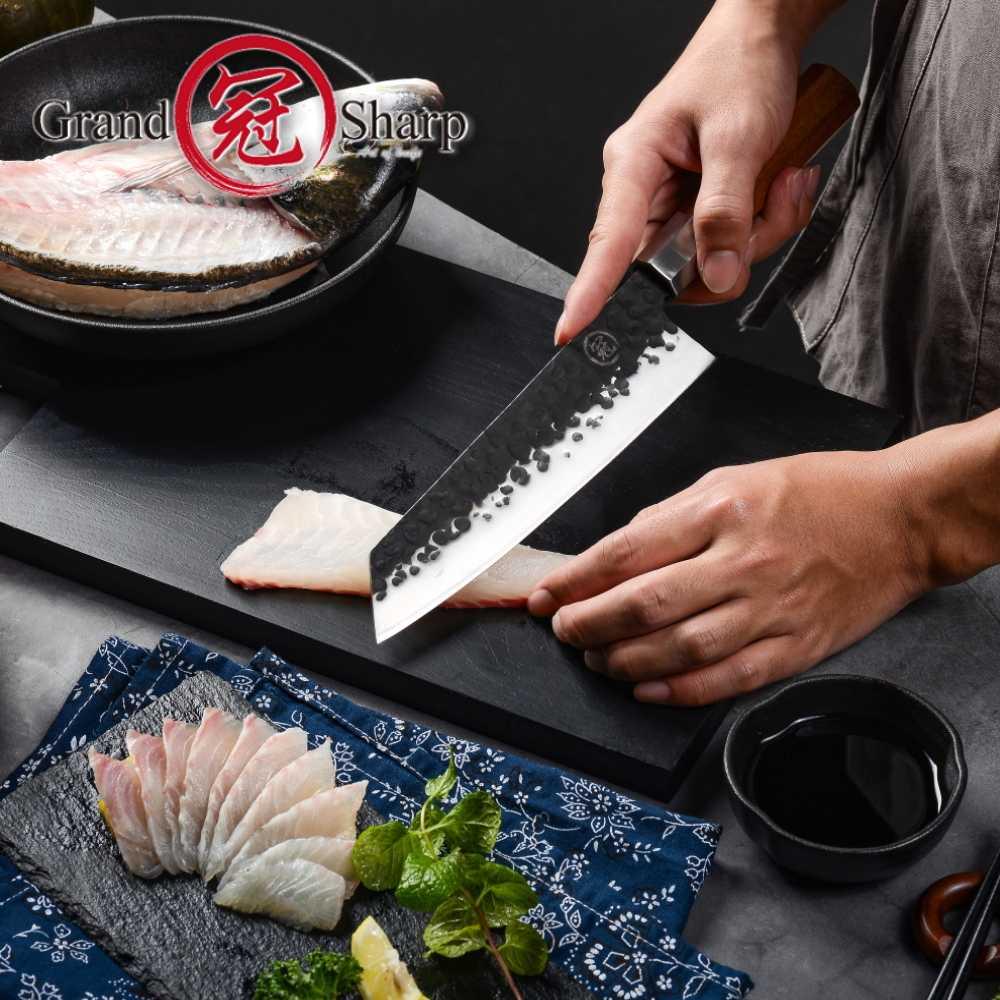 Facas de cozinha japonesas 2019, facas artesanais de chef kiritsuke, ferramentas de cozinha para cabo de madeira, produtos eco amigáveis