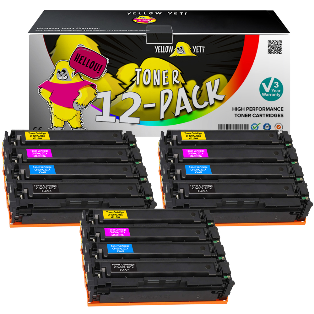 12pcs <font><b>Toner</b></font> Cartridge 201 Compatible for CF400A CF400X <font><b>HP</b></font> Colour LaserJet Pro MFP M252dw <font><b>M277dw</b></font> MFP M277n MFP M274n <font><b>printer</b></font> image
