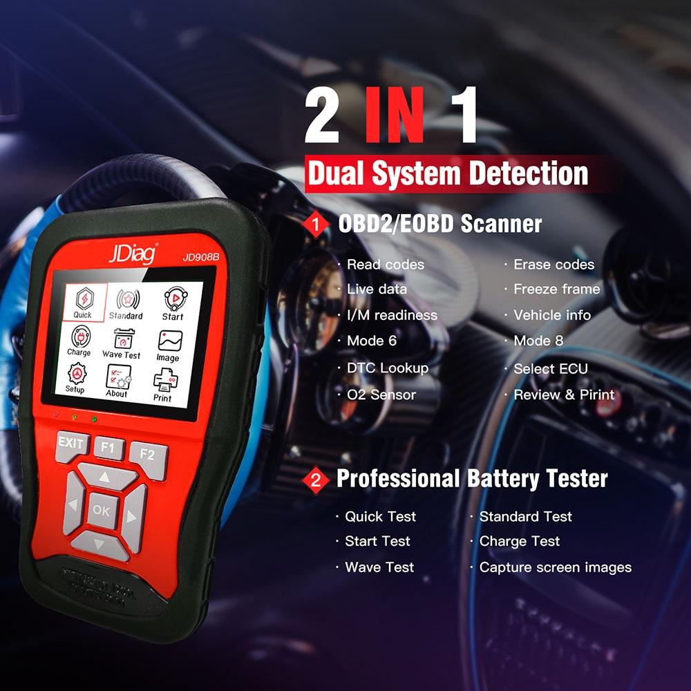 JDiag JD908B OBD2 Scan Tool + 12V Professional Battery Tester world premiere Intelligent dual system Diagnostic tool
