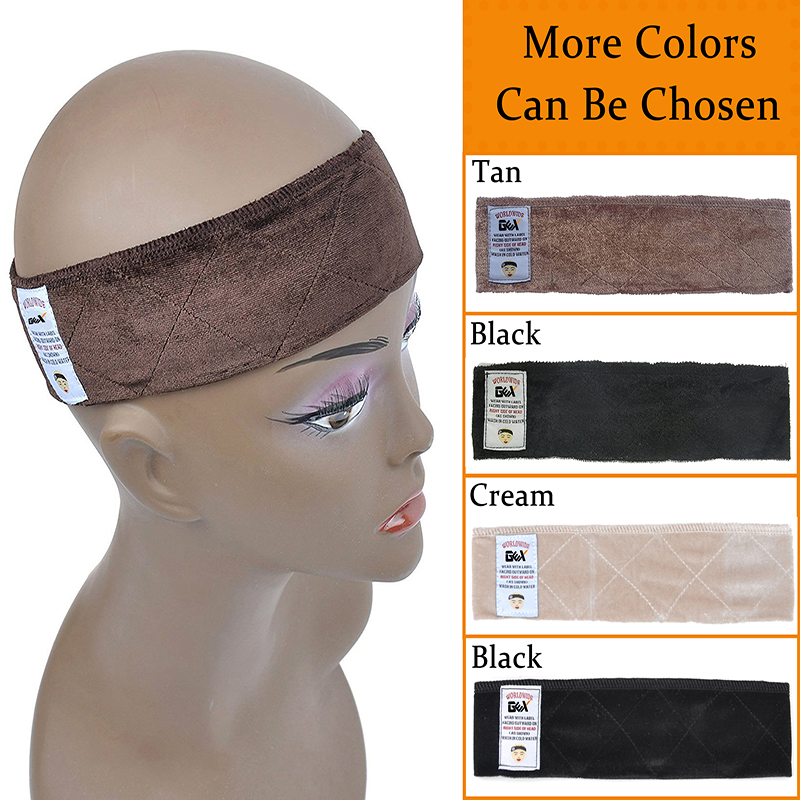 Free shipping Wholesale Hand Made non-slip Wig Grip Flexible Elastic Velvet Scarf Comfort Head Band Adjustable Fastern Wig