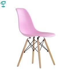 95712 Barneo N-12 пластиковый кухонный розовый стул на деревянном основании интерьерный стул мебель для кухни стул столовый стул в гостиную стул к...